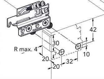 Подвес для полок под запрессовку /антисъемный  (+ отв. 897.AS.Z1.60.70), левый