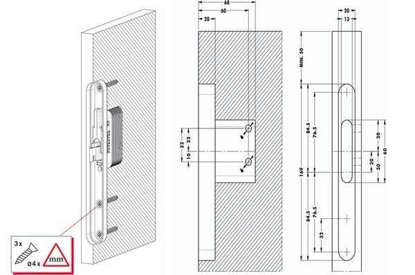 Подвес скрытого монтажа для плиты 25 мм, правый