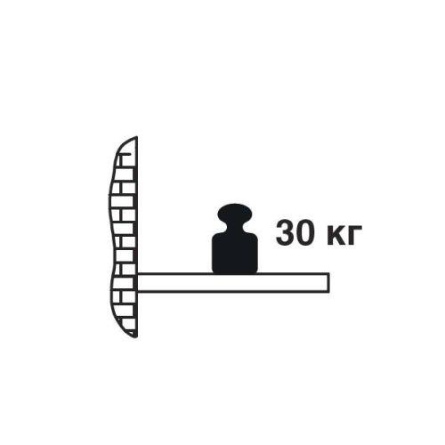 Полкодержатель L=350мм d=18мм с крепеж. пластиной для ДСП от 40мм, скрытый монтаж, 30кг