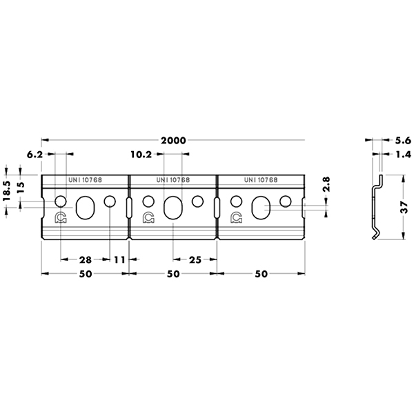Профиль для подвесов оцинкованный, 2м (для 801, 804, 806, 814) Цех АНГАР
