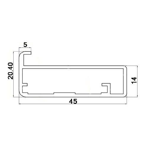 Профиль рам. TLEM MINI (Inox LR) 45х21, L=5000мм, инокс браш пол. (окутанн.защитной пленкой)