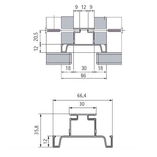 Профиль-ручка Gola Алюм. (алюм.), 4,7м, вертикальная двухсторонняя