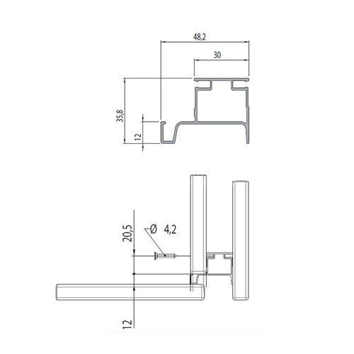 Профиль-ручка Gola Алюм. (алюм.), 4,7м вертикальная односторонняя