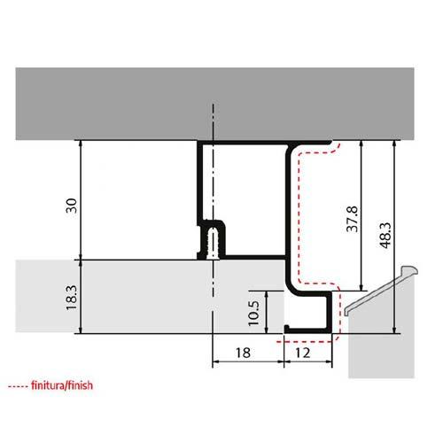 Профиль-ручка Gola 4350мм, вертикальная односторонняя, нерж. (алюм.)