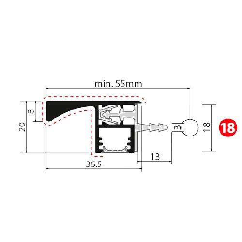 Профиль-ручка Gola 4400мм с LED-подсветкой, в верхние тумбы, черный браш (алюм.)+Профиль Diva