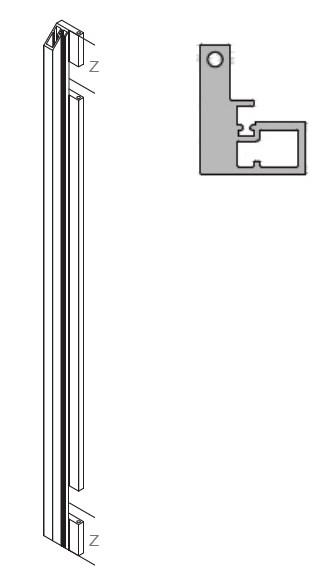 Профиль вертик. 2583мм, с фрезер. петель 100мм, прирезка под 45гр., свинец