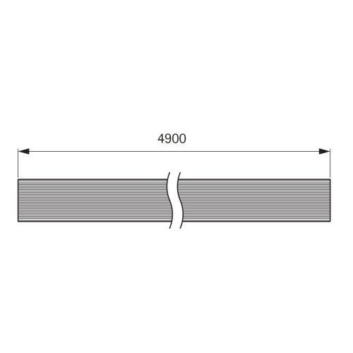 Профиль-заглушка L=4900мм под вклейку ламината/кромки 38мм, черный (алюм.)