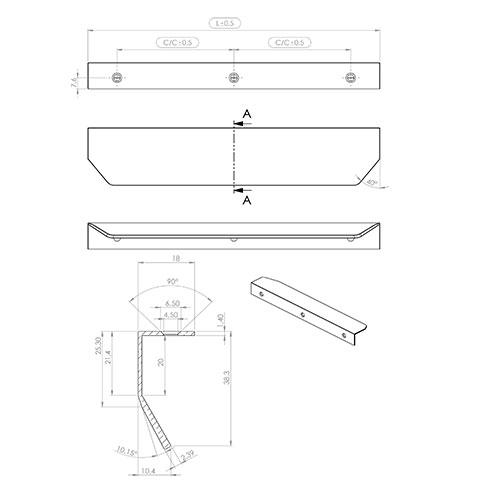 Ручка BLAZE 2  200х39,5х18мм, м/о 2/80мм, латунь