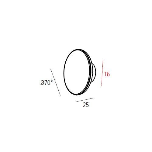 Ручка BUTTON хром пол. d=70мм, м/о 16мм