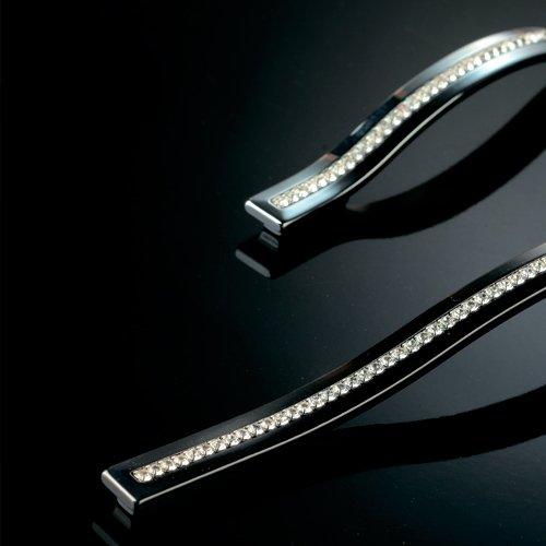 Ручка черный никель с кристаллами, м/о 288/320мм