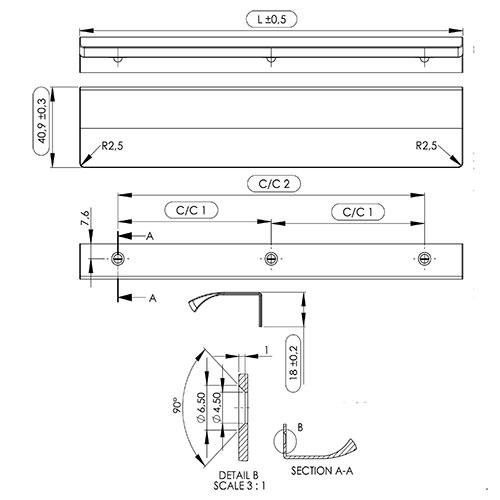 Ручка EDGE Straight 200х40,9х18мм, м/о 2/80мм, бронза