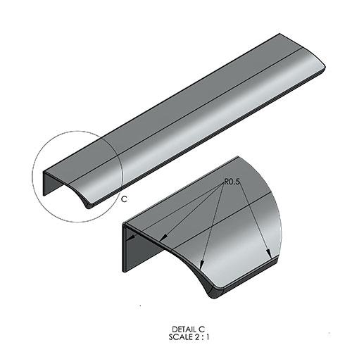 Ручка EDGE Straight 200х41хh18мм, м/о 2/80мм, нерж.