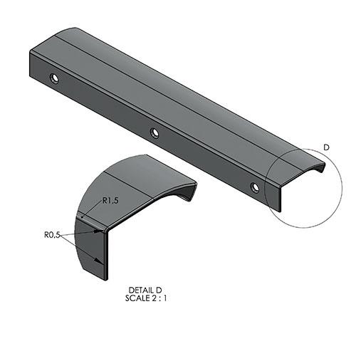 Ручка EDGE Straight 350х41хh18мм, м/о 2/160мм, нерж.