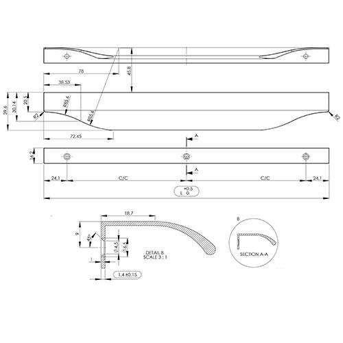 Ручка JAZZ 896,2х39,6х16,2мм, м/о 9/94,22мм, нерж.