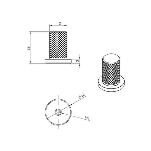 Ручка-кнопка HARLEQUIN d17х24хh33мм, сталь