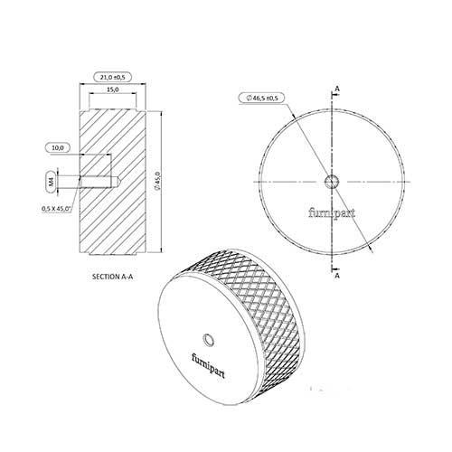 Ручка-кнопка HARLEQUIN MINI d34хh16мм, антрацит