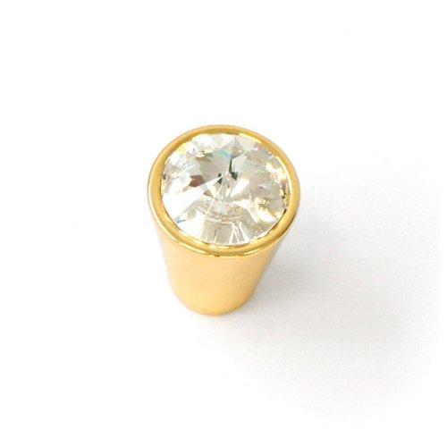 Ручка-кнопка латунь пол./кристалл