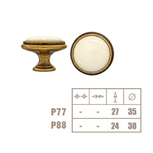 Ручка-кнопка серебро винтаж/фарфор, d35х27мм