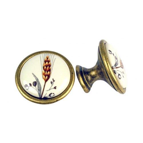 Ручка-кнопка ст.бронза/фарфор 34х25мм