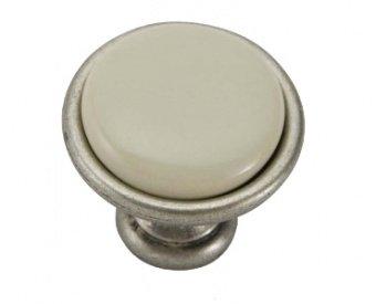 Ручка-кнопка ст.серебро/фарфор 34х25мм
