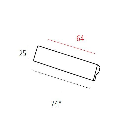 Ручка L=74мм, м/о 64мм, никель сатин пол.