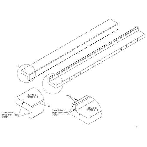 Ручка LOOP 375х25х16мм, м/о 128/330 мм, нерж.
