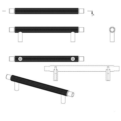 Ручка MANOR 182х36хh14мм, м/о 128мм, черный мат.