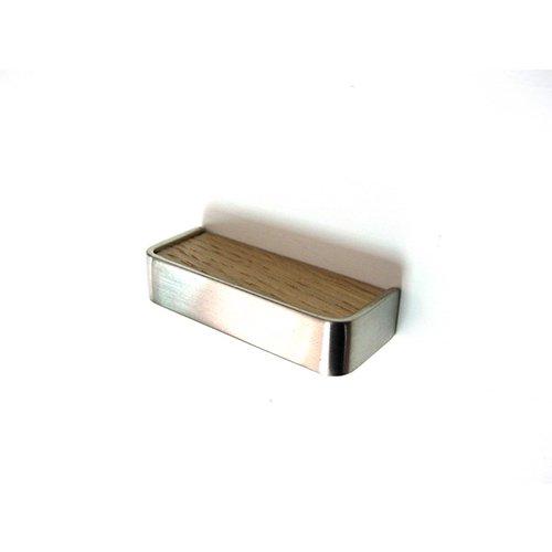 Ручка м/о 32мм, никель сатин пол./дуб светлый