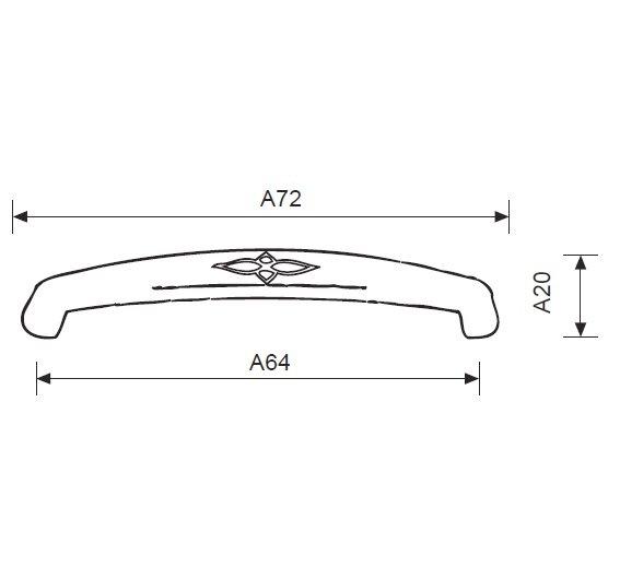 Ручка-скоба латунь мат. L=72мм, м/о 64мм