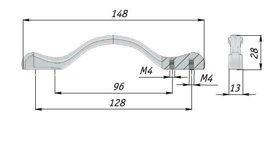 Ручка слоновая кость м/о 96-128мм
