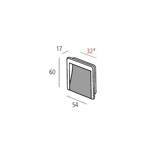 Ручка врезная м/о 32мм, алюминий