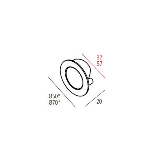 Ручка врезная SMOOTH d=70мм, алюминий