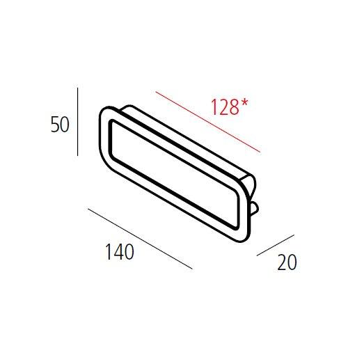 Ручка врезная SMOOTH м/о 128мм, черный мат.