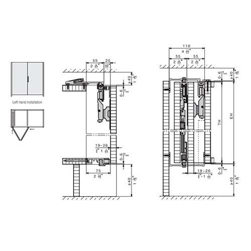 Система HAWA-Folding Concepta 25, L=1420мм, H=1851-2600мм, левая, черный анод.