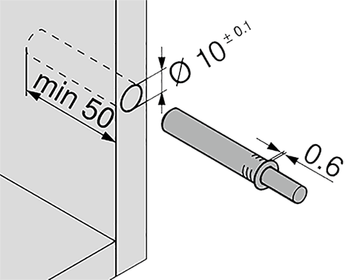 TIP-ON короткий d10x50мм, для наклад. дверей H до 1300мм, белый (пластик)