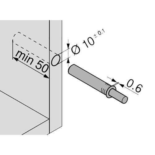 TIP-ON короткий d10x50мм, для наклад. дверей H до 1300мм, черный (пластик)