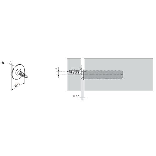 TIP-ON короткий d10x50мм, для наклад. дверей H до 1300мм, серый (пластик)