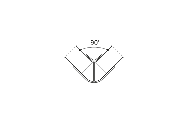 Угол наружный 90гр. Нерж. H=100мм (алюм.)