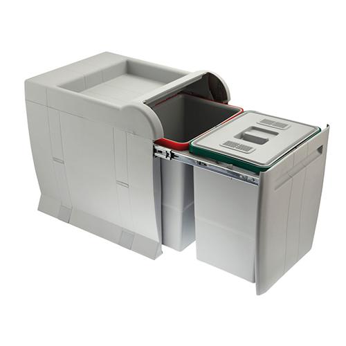 Ведро для мусора CITY (350х470х440мм) на секцию от 400мм, 2х18л (1фильтр) пластик