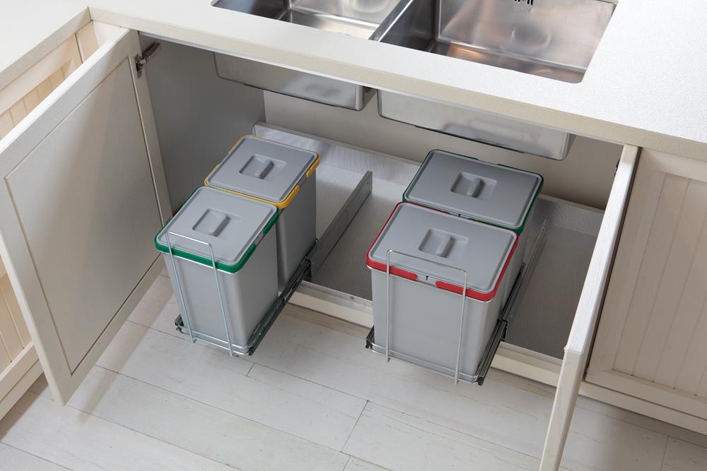 Ведро для мусора ECOFIL на металл.напр. (300х410х505мм) на секцию от 400мм, 2х24л, хром.сталь