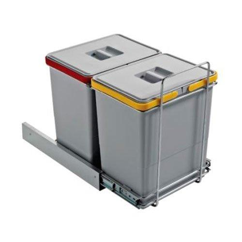 Ведро для мусора ECOFIL на металл.напр. (300х450х360мм) на секцию от 400мм,  2х18л хром.сталь