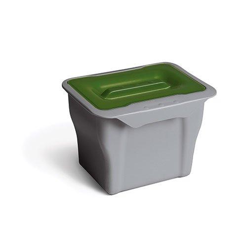 Ведро универ. (серия 557) 5л, серое с зеленой крышкой
