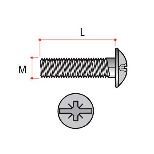 Винт стяжки М4х15мм (для толщины 31-38мм), никель