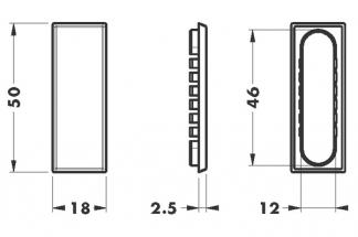 Заглушка 50х18 (46х12) для навесок 816, 820, 819, никель (пластик)